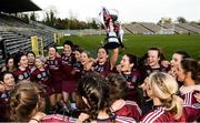 24 March 2018; Slaughtneil celebrate with the cup after the AIB All-Ireland Senior Club Camogie Final match between Sarsfields and Slaughtneil at St Tiernach's Park in Clones, Monaghan.  Photo by Oliver McVeigh/Sportsfile