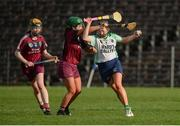 24 March 2018; Clodagh McGrath of Sarsfields in action against Shannon Graham of Slaughtneil during the AIB All-Ireland Senior Club Camogie Final match between Sarsfields and Slaughtneil at St Tiernach's Park in Clones, Monaghan. Photo by Oliver McVeigh/Sportsfile