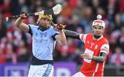 24 March 2018; Cian O'Callaghan of Cuala in action against David Breen of Na Piarsaigh during the AIB GAA Hurling All-Ireland Senior Club Championship Final replay match between Cuala and Na Piarsaigh at O'Moore Park in Portlaoise, Laois. Photo by Piaras Ó Mídheach/Sportsfile