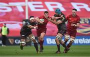 24 March 2018; Ian Keatley of Munster is tackled by Aaron Shingler and Tadhg Beirne of Scarlets during the Guinness PRO14 Round 18 match between Munster and Scarlets at Thomond Park in Limerick. Photo by Diarmuid Greene/Sportsfile
