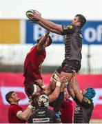 24 March 2018; David Bulbring of Scarlets wins possession in a lineout ahead of Jean Kleyn of Munster during the Guinness PRO14 Round 18 match between Munster and Scarlets at Thomond Park in Limerick. Photo by Diarmuid Greene/Sportsfile