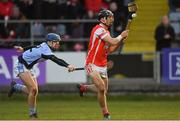 24 March 2018; Mark Schutte of Cuala gets past Jerome Boylan of Na Piarsaigh to scores his side's second goal during the AIB GAA Hurling All-Ireland Senior Club Championship Final replay match between Cuala and Na Piarsaigh at O'Moore Park in Portlaoise, Laois. Photo by Piaras Ó Mídheach/Sportsfile
