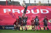 24 March 2018; Tadhg Beirne of Scarlets wins possession in a lineout during the Guinness PRO14 Round 18 match between Munster and Scarlets at Thomond Park in Limerick. Photo by Diarmuid Greene/Sportsfile