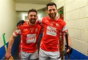 24 March 2018; Oisín Gough, left, and Shane Stapleton of Cuala celebrate on their way back to the dressing room after the AIB GAA Hurling All-Ireland Senior Club Championship Final replay match between Cuala and Na Piarsaigh at O'Moore Park in Portlaoise, Laois. Photo by Piaras Ó Mídheach/Sportsfile