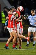 24 March 2018; Cuala players Mark Schutte, left, Con O'Callaghan and David Treacy, behind, celebrate after the AIB GAA Hurling All-Ireland Senior Club Championship Final replay match between Cuala and Na Piarsaigh at O'Moore Park in Portlaoise, Laois. Photo by Piaras Ó Mídheach/Sportsfile