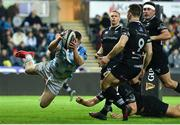 24 March 2018; Rory O'Loughlin of Leinster dives over to score his side's second try during the Guinness PRO14 Round 18 match between Ospreys and Leinster at the Liberty Stadium in Swansea, Wales. Photo by Ramsey Cardy/Sportsfile