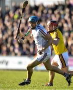 24 March 2018; Conor Cooney of Galway in action against Diamuid O'Keeffe of Wexford during the Allianz Hurling League Division 1 quarter-final match between Wexford and Galway at Innovate Wexford Park in Wexford. Photo by Sam Barnes/Sportsfile