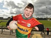 25 March 2018; Carlow supporter Adam Haughney, age 8, of Éire Óg Carlow GAA Club, prior to the Allianz Football League Division 4 Round 7 match between Carlow and Laois at Netwatch Cullen Park in Carlow. Photo by Seb Daly/Sportsfile
