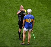 25 March 2018; Ronan Maher of Tipperary receives a red card after a second yellow from referee Sean Cleere during the Allianz Hurling League Division 1 Quarter-Final match between Dublin and Tipperary at Croke Park in Dublin. Photo by Ray McManus/Sportsfile