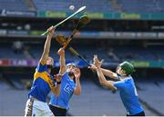 25 March 2018; Billy McCarthy of Tipperary in action against Rian McBride and Chris Crummey, right, of Dublin during the Allianz Hurling League Division 1 Quarter-Final match between Dublin and Tipperary at Croke Park in Dublin. Photo by Stephen McCarthy/Sportsfile