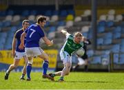 25 March 2018; Aidan Breen of Fermanagh in action against Barry Gilleran of Longford during the Allianz Football League Division 3 Round 7 match between Longford and Fermanagh at Glennon Brothers Pearse Park in Longford. Photo by Eóin Noonan/Sportsfile