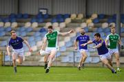 25 March 2018; Eoin Donnelly of Fermanagh in action against Padraig Mc Cormack, left, and Barry Mc Keon of Longford during the Allianz Football League Division 3 Round 7 match between Longford and Fermanagh at Glennon Brothers Pearse Park in Longford. Photo by Eóin Noonan/Sportsfile