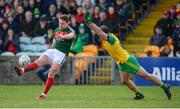 25 March 2018; Andy Moran of Mayo in action against Neil McGee of Donegal  during the Allianz Football League Division 1 Round 7 match between Donegal and Mayo at MacCumhaill Park in Ballybofey, Donegal. Photo by Oliver McVeigh/Sportsfile