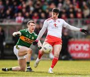 25 March 2018; Lee Brennan of Tyrone in action against Mark Griffin of Kerry during the Allianz Football League Division 1 Round 7 match between Tyrone and Kerry at Healy Park in Omagh, Tyrone. Photo by Brendan Moran/Sportsfile