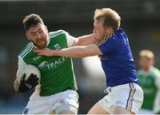 25 March 2018; Seamus Quigley of Fermanagh in action against Padraig Mc Cormack of Longford during the Allianz Football League Division 3 Round 7 match between Longford and Fermanagh at Glennon Brothers Pearse Park in Longford. Photo by Eóin Noonan/Sportsfile