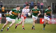 25 March 2018; Declan McClure of Tyrone in action against Kerry players, from left, Jason Foley, Jack Barry and David Moran during the Allianz Football League Division 1 Round 7 match between Tyrone and Kerry at Healy Park in Omagh, Tyrone. Photo by Brendan Moran/Sportsfile