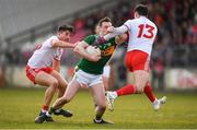 25 March 2018; Mark Griffin of Kerry in action against Ronan O'Neill, left, and Lee Brennan of Tyrone during the Allianz Football League Division 1 Round 7 match between Tyrone and Kerry at Healy Park in Omagh, Tyrone. Photo by Brendan Moran/Sportsfile