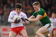 25 March 2018; Lee Brennan of Tyrone in action against Jason Foley of Kerry during the Allianz Football League Division 1 Round 7 match between Tyrone and Kerry at Healy Park in Omagh, Tyrone. Photo by Brendan Moran/Sportsfile