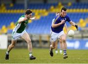 25 March 2018; David McGivney of Longford in action against Eoin Donnelly of Fermanagh during the Allianz Football League Division 3 Round 7 match between Longford and Fermanagh at Glennon Brothers Pearse Park in Longford. Photo by Eóin Noonan/Sportsfile