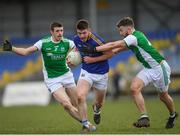 25 March 2018; Robbie Smyth of Longford in action against Micky Jones, left, and James Mc Mahon of Fermanagh during the Allianz Football League Division 3 Round 7 match between Longford and Fermanagh at Glennon Brothers Pearse Park in Longford. Photo by Eóin Noonan/Sportsfile