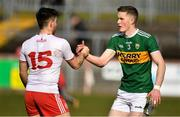 25 March 2018; Ronan O'Neill of Tyrone and Jason Foley of Kerry after the Allianz Football League Division 1 Round 7 match between Tyrone and Kerry at Healy Park in Omagh, Tyrone. Photo by Brendan Moran/Sportsfile