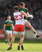25 March 2018; Éanna Ó Conchúir of Kerry is tackled by Michael McKernan of Tyrone during the Allianz Football League Division 1 Round 7 match between Tyrone and Kerry at Healy Park in Omagh, Tyrone. Photo by Brendan Moran/Sportsfile