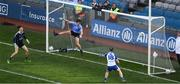 25 March 2018; Dublin goalkeeper Evan Comerford and Eoin Murchan can only look on as this shot from Jack McCarron of Monaghan hits the net for the second goal, in the 65th minute, during the Allianz Football League Division 1 Round 7 match between Dublin and Monaghan at Croke Park in Dublin. Photo by Ray McManus/Sportsfile