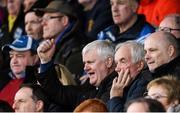 25 March 2018; Former Uachtarán Chumann Lúthchleas Gael Aogán Ó Fearghail celebrates a Cavan score during the Allianz Football League Division 2 Round 7 match between Cavan and Tipperary at Kingspan Breffni in Cavan. Photo by Piaras Ó Mídheach/Sportsfile