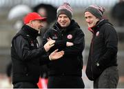 25 March 2018; Tyrone manager Mickey Harte, left, with assistant manager Gavin Devlin, centre, and selector Stephen O'Neill prior to the Allianz Football League Division 1 Round 7 match between Tyrone and Kerry at Healy Park in Omagh, Tyrone. Photo by Brendan Moran/Sportsfile
