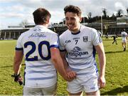 25 March 2018; Conor Moynagh, right, and Seánie Johnston of Cavan celebrate after the Allianz Football League Division 2 Round 7 match between Cavan and Tipperary at Kingspan Breffni in Cavan. Photo by Piaras Ó Mídheach/Sportsfile