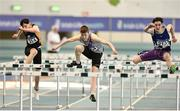 25 March 2018; Cian Dunne of Dundrum South Dublin A.C., Co Dublin, centre, competing in the Boys U16 60mH event, ahead of Jack Forde of St. Killian's A.C., Co Wexford, left, and Darra Casey of Bree A.C., Co Wexford, during Day 3 of the Irish Life Health National Juvenile Indoor Championships at Athlone IT, in Athlone, Westmeath. Photo by Sam Barnes/Sportsfile