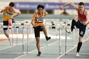 25 March 2018; Wymin Sivakumar of Leevale A.C., Co Cork, centre, and Iarlaith Golding of St. Colmans South Mayo, Co Mayo, competing in the Boys U17 60mH event during Day 3 of the Irish Life Health National Juvenile Indoor Championships at Athlone IT, in Athlone, Westmeath. Photo by Sam Barnes/Sportsfile