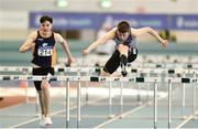 25 March 2018; Cian Dunne of Dundrum South Dublin A.C., Co Dublin, right, competing in the Boys U16 60mH event, ahead of Jack Forde of St. Killian's A.C., Co Wexford, during Day 3 of the Irish Life Health National Juvenile Indoor Championships at Athlone IT, in Athlone, Westmeath. Photo by Sam Barnes/Sportsfile