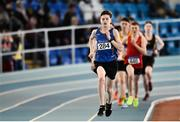 25 March 2018; Cian McPhillips of Longford A.C., Co Longford, on his way to winning the Boys U17 800m event during Day 3 of the Irish Life Health National Juvenile Indoor Championships at Athlone IT, in Athlone, Westmeath. Photo by Sam Barnes/Sportsfile