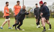 26 March 2018; Simon Zebo receives a pass from team-mate Brian Scott during Munster Rugby squad training at the University of Limerick in Limerick. Photo by Diarmuid Greene/Sportsfile