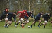 26 March 2018; Jean Kleyn, Niall Scannell, Jack O'Donoghue, Darren O'Shea, Rhys Marshall and Conor Oliver during Munster Rugby squad training at the University of Limerick in Limerick. Photo by Diarmuid Greene/Sportsfile