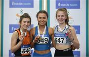 25 March 2018; Girls U16 800m medallists, from left, Ailbhe O'Neill of Nenagh Olympic A.C., Co Tipperary, bronze,  Ava O'Connor of Tullamore Harriers A.C., Co Offaly, gold, and Aimee Kenna of Dundrum South Dublin A.C., Co Dublin, bronze, during Day 3 of the Irish Life Health National Juvenile Indoor Championships at Athlone IT, in Athlone, Westmeath. Photo by Sam Barnes/Sportsfile