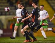 26 March 2018; Dylan Watts of Bohemians scores his side's first goal during the EA SPORTS Cup First Round match between Bohemians and Cabinteely at Dalymount Park in Dublin. Photo by David Fitzgerald/Sportsfile