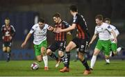 26 March 2018; Dylan Watts of Bohemians in action against Luke Clukas of Cabinteely during the EA SPORTS Cup First Round match between Bohemians and Cabinteely at Dalymount Park in Dublin. Photo by David Fitzgerald/Sportsfile