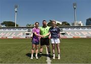 17 March 2018; Referee Séamus Mulvihill, from Kerry, with team captains Noelle Healy of Dublin & 2016 All-Stars, left, and Aileen Gilroy of Mayo & 2017 All-Stars before the 2016 All-Stars v 2017 All-Stars Exhibition match during the TG4 Ladies Football All-Star Tour 2018. Chulalongkorn University Football Club Stadium, Bangkok, Thailand. Photo by Piaras Ó Mídheach/Sportsfile