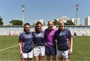 17 March 2018; Donegal's, from left, Niamh Hegarty, Ciara Hegarty, Karen Guthrie, and Yvonne McMonagle at the 2016 All-Stars v 2017 All-Stars Exhibition match during the TG4 Ladies Football All-Star Tour 2018. Chulalongkorn University Football Club Stadium, Bangkok, Thailand. Photo by Piaras Ó Mídheach/Sportsfile