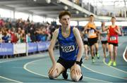 25 March 2018; Cian McPhillips of Longford A.C.,Co Longford, after competing in the Boys U17 800m event during Day 3 of the Irish Life Health National Juvenile Indoor Championships at Athlone IT, in Athlone, Westmeath. Photo by Sam Barnes/Sportsfile