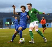 27 March 2018; Ronan Curtis of Republic of Ireland in action against Sertan Tashgin of Azerbaijan during the UEFA U21 Championship Qualifier match between the Republic of Ireland and Azerbaijan at Tallaght Stadium in Dublin. Photo by Stephen McCarthy/Sportsfile