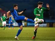 27 March 2018; Ryan Manning of Republic of Ireland in action against Hajiaga Hajiyev of Azerbaijan during the UEFA U21 Championship Qualifier match between the Republic of Ireland and Azerbaijan at Tallaght Stadium in Dublin. Photo by Stephen McCarthy/Sportsfile