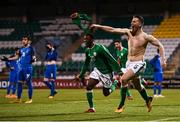 27 March 2018; Shaun Donnellan of Republic of Ireland celebrates after scoring his side's winning goal during the UEFA U21 Championship Qualifier match between the Republic of Ireland and Azerbaijan at Tallaght Stadium in Dublin. Photo by Stephen McCarthy/Sportsfile