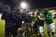 27 March 2018; Republic of Ireland players celebrate after Shaun Donnellan score their winning goal during the UEFA U21 Championship Qualifier match between the Republic of Ireland and Azerbaijan at Tallaght Stadium in Dublin. Photo by Stephen McCarthy/Sportsfile