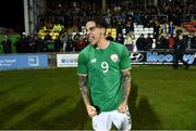 27 March 2018; Reece Grego-Cox of Republic of Ireland celebrates their winning goal following the UEFA U21 Championship Qualifier match between the Republic of Ireland and Azerbaijan at Tallaght Stadium in Dublin. Photo by Stephen McCarthy/Sportsfile