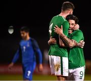 27 March 2018; Reece Grego-Cox, right, and Ryan Sweeney of Republic of Ireland celebrate following the UEFA U21 Championship Qualifier match between the Republic of Ireland and Azerbaijan at Tallaght Stadium in Dublin. Photo by Stephen McCarthy/Sportsfile