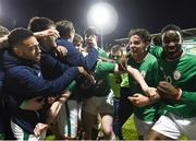 27 March 2018; Republic of Ireland players celebrate after Shaun Donnellan scored their winning goal during the UEFA U21 Championship Qualifier match between the Republic of Ireland and Azerbaijan at Tallaght Stadium in Dublin. Photo by Stephen McCarthy/Sportsfile