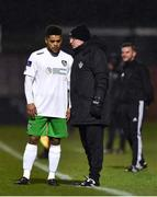 26 March 2018; Cabinteely coach Eddie Gormley speaks with Kaleem Simon during the EA SPORTS Cup First Round match between Bohemians and Cabinteely at Dalymount Park in Dublin.  Photo by David Fitzgerald/Sportsfile